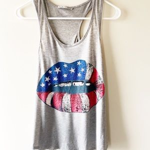 American Flag Lips USA Sparkles Rolling Stone M